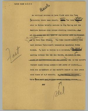 Primary view of object titled '[News Script: David Sime]'.