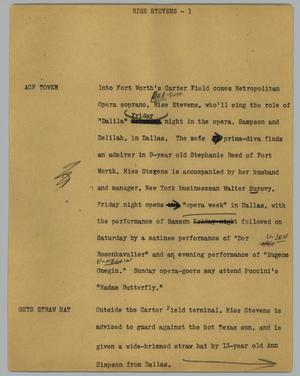 Primary view of object titled '[News Script: Rise Stevens]'.