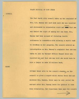 Primary view of object titled '[News Script: Roach critical of city judge]'.