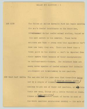 Primary view of object titled '[News Script: Dallas Zoo addition]'.