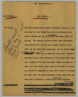 Primary view of object titled '[News Script: Sen. Goldwater]'.