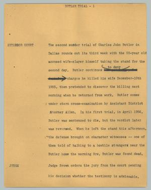 Primary view of object titled '[News Script: Butler Trial]'.