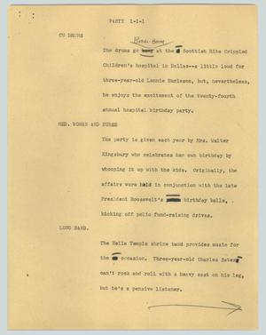 Primary view of object titled '[News Script: Party]'.