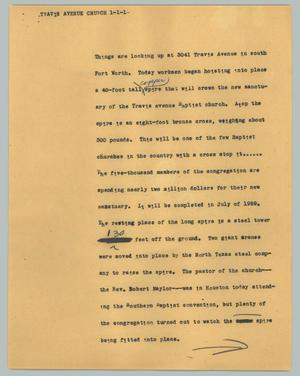 Primary view of object titled '[News Script: Travis Avenue Church]'.