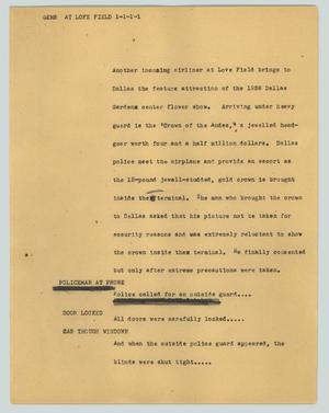 Primary view of object titled '[News Script: Gems at Lofe Field]'.