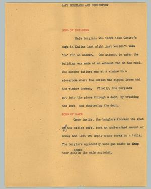 Primary view of object titled '[News Script: Safe burglars are persistent]'.