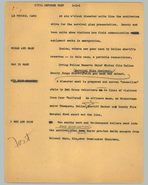 Primary view of object titled '[News Script: Civil defense meet]'.