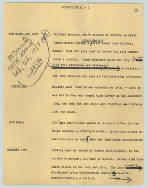 Primary view of object titled '[News Script: McCarty trial]'.