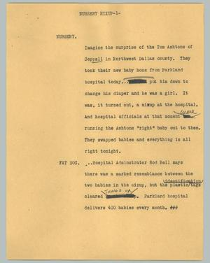 Primary view of object titled '[News Script: Nursery mixup]'.