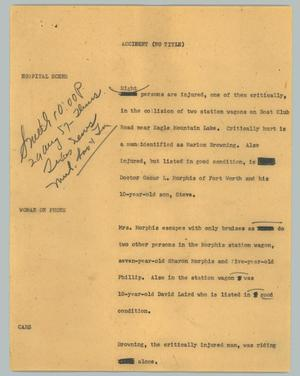 Primary view of object titled '[News Script: Accident (no title)]'.