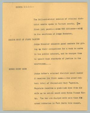 Primary view of object titled '[News Script: Courts]'.