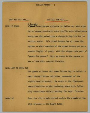 Primary view of object titled '[News Script: Dallas parade]'.