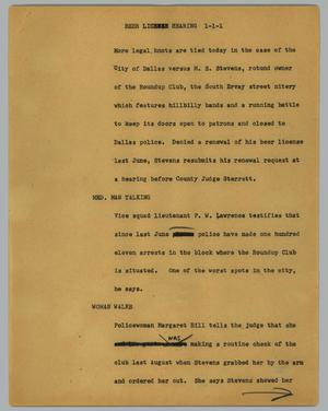 Primary view of object titled '[News Script: Beer license hearing]'.