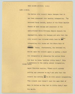 Primary view of object titled '[News Script: News brief--council]'.