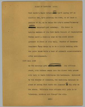 Primary view of object titled '[News Script: Clean up campaign]'.