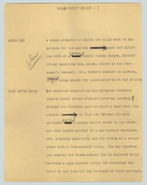Primary view of object titled '[News Script: Bexar County murder]'.