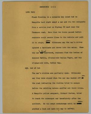 Primary view of object titled '[News Script: Drownings]'.
