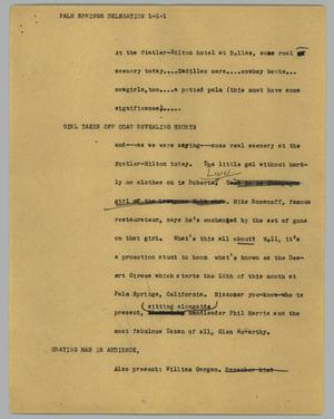 Primary view of object titled '[News Script: Palm Springs Delegation]'.