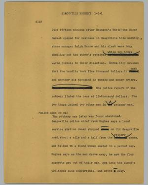 Primary view of object titled '[News Script: Seagoville robbery]'.