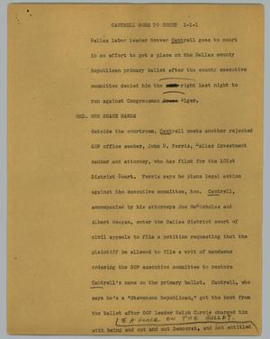 Primary view of object titled '[News Script:Cantrell Goes to Court]'.
