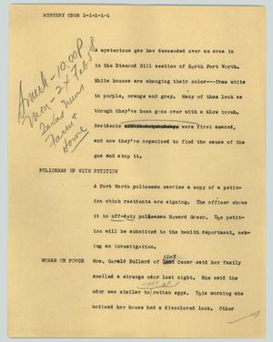 Primary view of object titled '[News Script: Mystery odor]'.