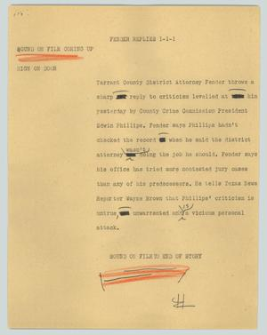Primary view of object titled '[News Script: Fender replies]'.
