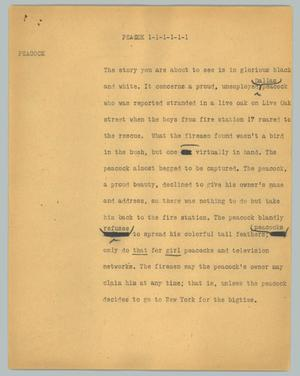 Primary view of object titled '[News Script: Peacock]'.