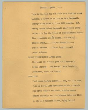 Primary view of object titled '[News Script: Baseball queen]'.