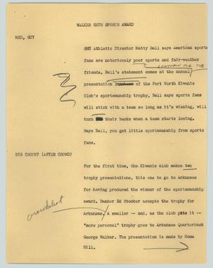 Primary view of object titled '[News Script: Walker gets sports award]'.