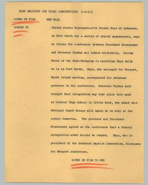Primary view of object titled '[News Script: Hays believes Ike talks constructive]'.
