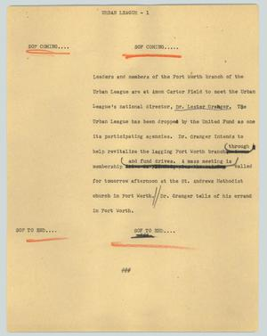 Primary view of object titled '[News Script: Urban league]'.