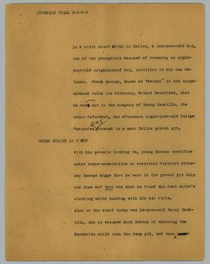 Primary view of object titled '[News Script: Juvenile trial]'.