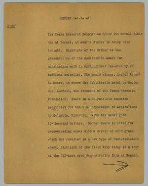 Primary view of object titled '[News Script: Renner]'.
