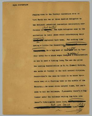 Primary view of object titled '[News Script: Nira convention]'.