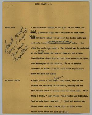 Primary view of object titled '[News Script: Motel Blast]'.
