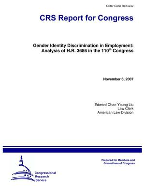 Primary view of object titled 'Gender Identity Discrimination in Employment: Analysis of H.R. 3686 in the 110th Congress'.