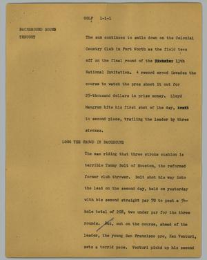 Primary view of object titled '[News Script: Golf]'.