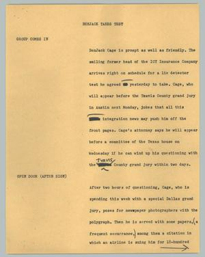 Primary view of object titled '[News Script: Benjack takes test]'.