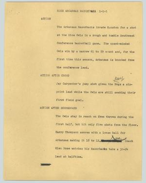 Primary view of object titled '[News Script: Rice Arkansas basketball]'.
