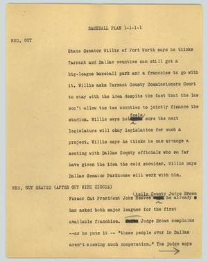 Primary view of object titled '[News Script: Baseball Plan]'.