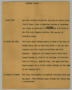 Primary view of object titled '[News Script: Non Stop Flight]'.