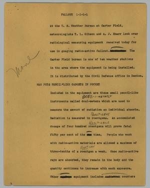 Primary view of object titled '[News Script: Fallout]'.
