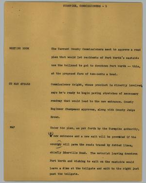 Primary view of object titled '[News Script: Turnpike commissioners]'.
