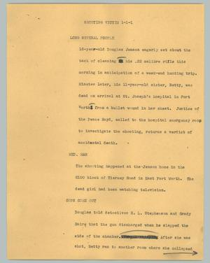 Primary view of object titled '[News Script: Shooting victim]'.