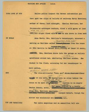Primary view of object titled '[News Script: Machine gun attack]'.