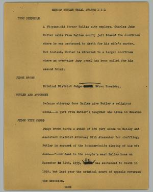 Primary view of object titled '[News Script: Second Butler trial starts]'.