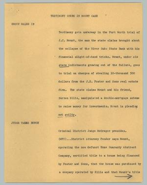 Primary view of object titled '[News Script: Testimony opens in Mount case]'.