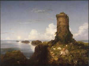 Primary view of Italian Coast Scene with Ruined Tower