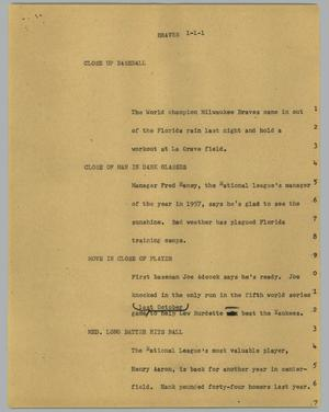 Primary view of object titled '[News Script: Braves]'.