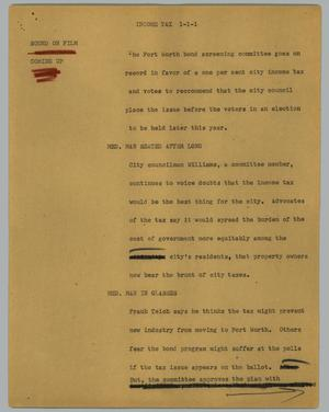 Primary view of object titled '[News Script: Income tax]'.